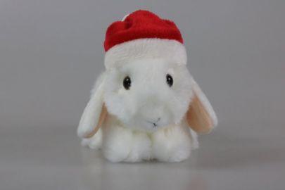 Hase weiß  mit Weihnachtsmütze